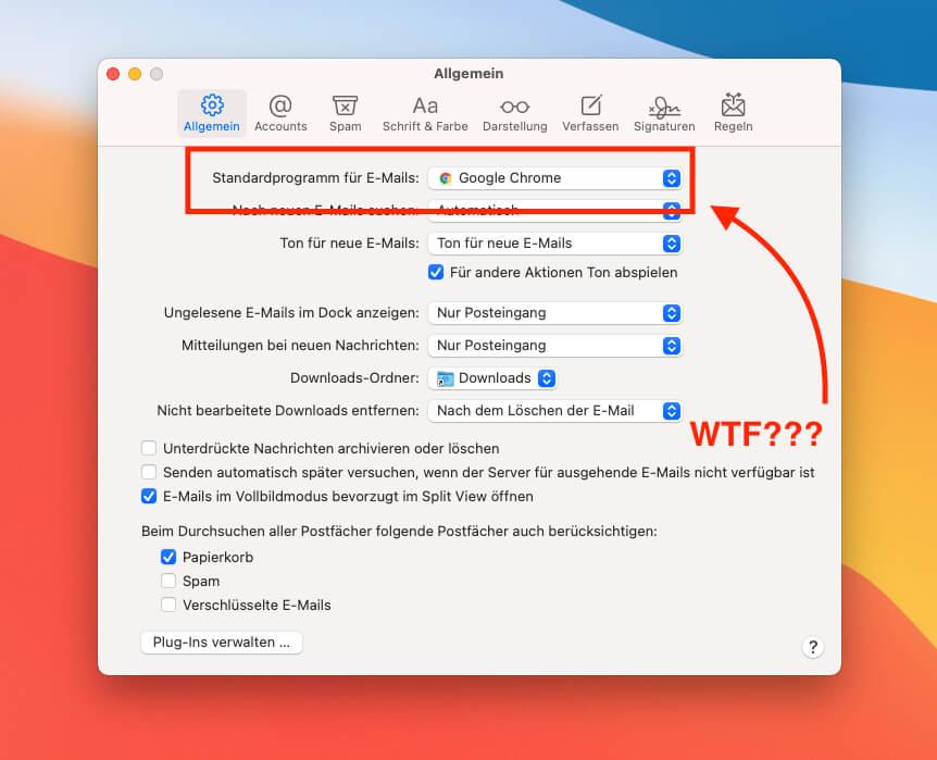 Wie Google Chrome plötzlich mein Standardprogramm für E-Mails geworden ist, weiß ich nicht…ich habe es jedenfalls nicht ausgewählt.