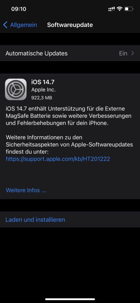 Auch auf dem Apple iPhone gibt es ein Systemupdate. Dieses bringt das mobile Betriebssystem iOS auf die Version 14.7. Auch hier solltet ihr euch die nötige Zeit nehmen, um das Update zeitnah zu installieren.