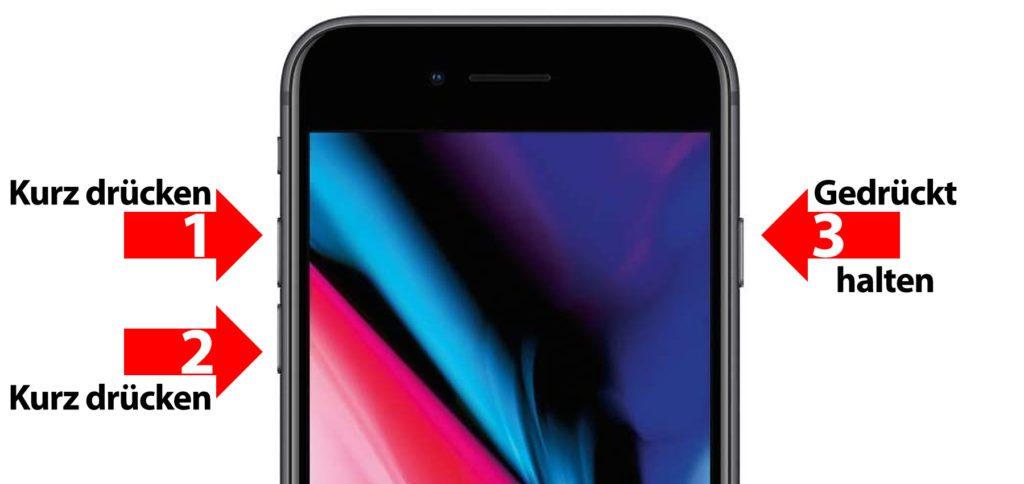 Der Apple iPhone 8 (Plus) Hard Reset funktioniert, indem ihr nacheinander kurz die Lauter-Taste, kurz die Leiser-Taste und dann lange die Seitentaste drückt. Die Seitentaste könnt ihr loslassen, wenn das Apple-Logo erscheint. So funktioniert das Neustart erzwingen am iPhone 8 (Plus).