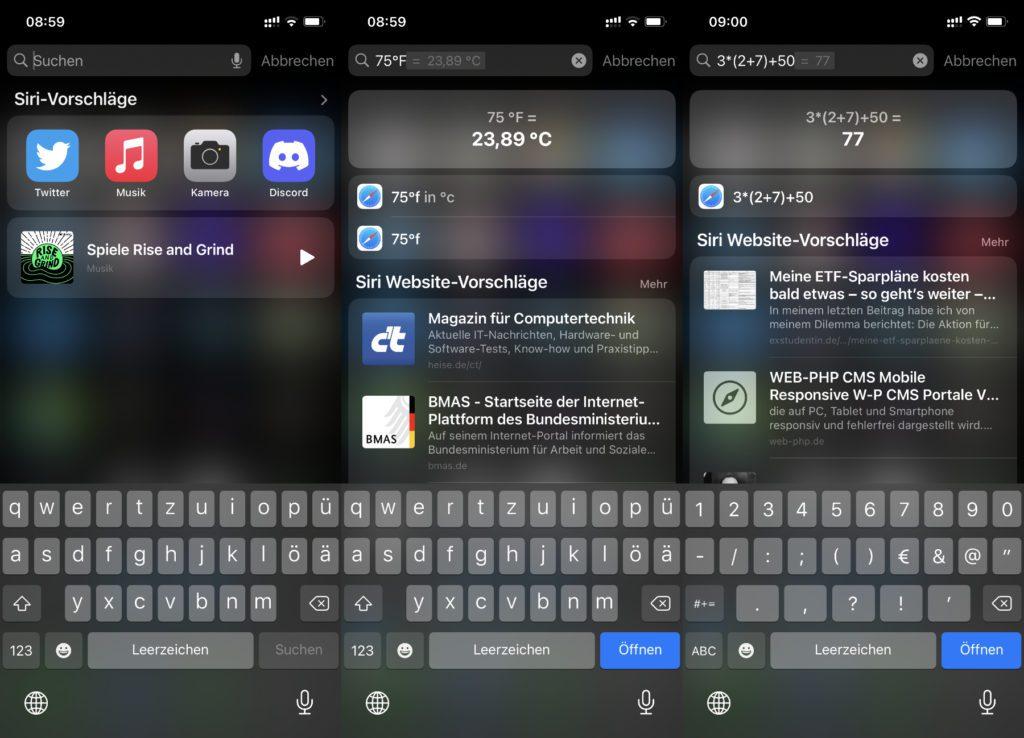 Die gewohnten Spotlight-Funktionen des Apple Mac unter iOS auf dem iPhone: Die iPhone Suchfunktion könnt ihr auch zum Rechnen und Umrechnen nutzen. Viel Spaß beim Ausprobieren!