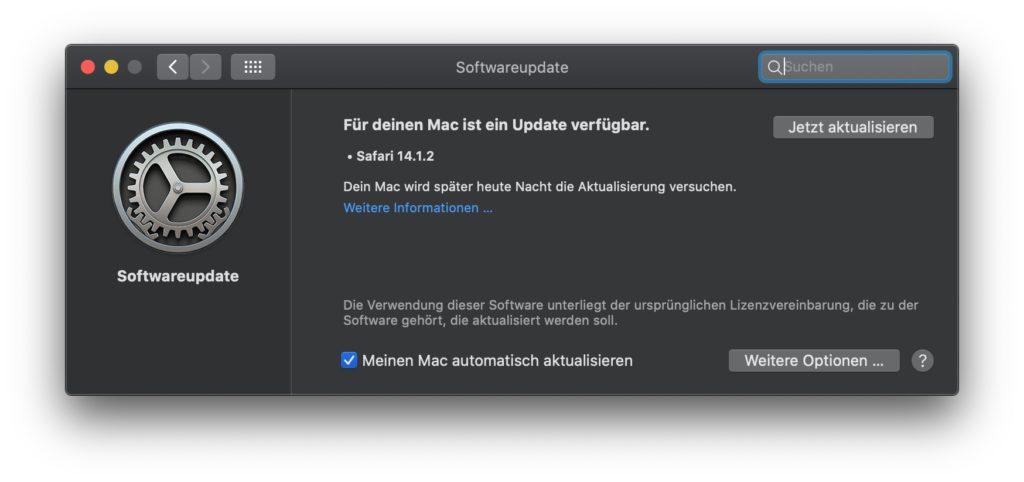 Unter Systemeinstellungen -> Softwareupdate findet ihr in macOS 10.14 Mojave und macOS 10.15 Catalina den Hinweis auf Safari 14.1.2. Da wahrscheinlich schwerwiegende Sicherheitslücken geschlossen werden, solltet ihr das Update zeitnah installieren.