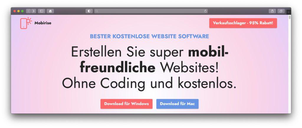 Der Mobirise Website-Baukasten ist einfach zu bedienen und sorgt dafür, dass die erstellte Seite auch mobil ideal angezeigt wird. Vorkenntnisse in Webdesign oder Programmieren sind nicht nötig.