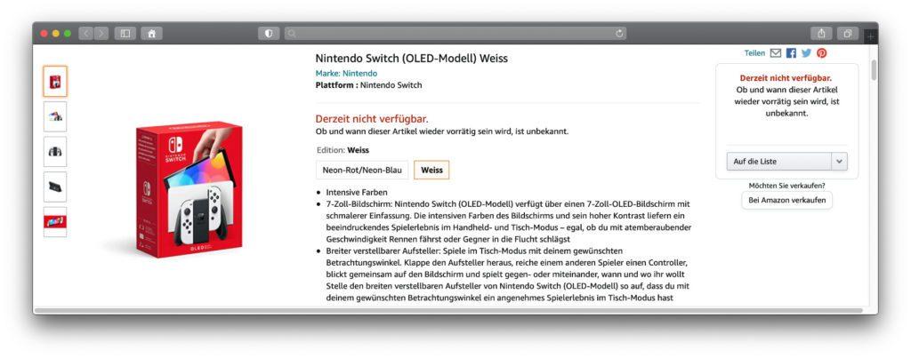 Nintendo Switch OLED-Modell vorbestellen: Die Amazon-Seiten stehen bereit, verfügbar ist die Konsole aber noch nicht. Hier findet ihr die Links zu den Seiten sowie mit der Nintendo Switch Lite eine sofort verfügbare Handheld-Alternative.
