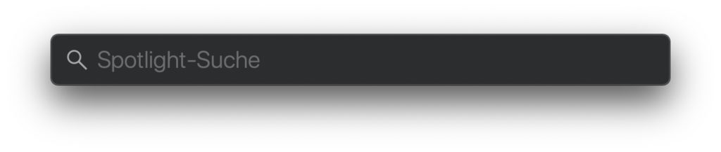 If you use the key combination cmd + space bar on the Apple Mac or click on the magnifying glass symbol in the menu bar, the Spotlight search appears.