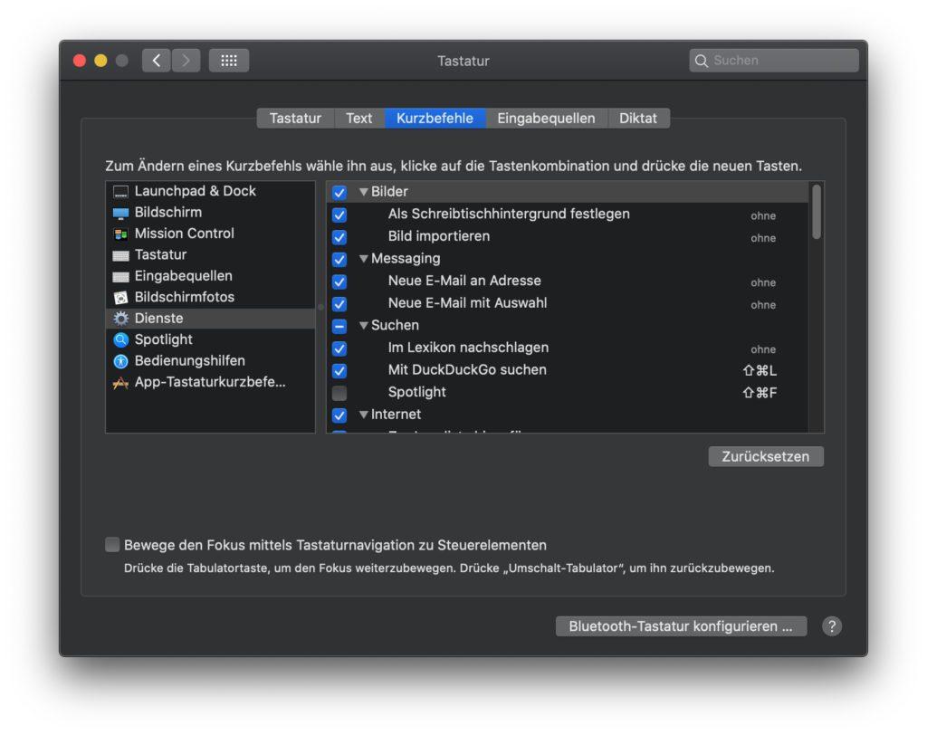 Welche Mac Dienste benötigt ihr, und welche nicht? Und welche sollen direkt per Tastenkombination zur Verfügung stehen? Diese Fragen könnt ihr in den macOS Systemeinstellungen ganz individuell beantworten.