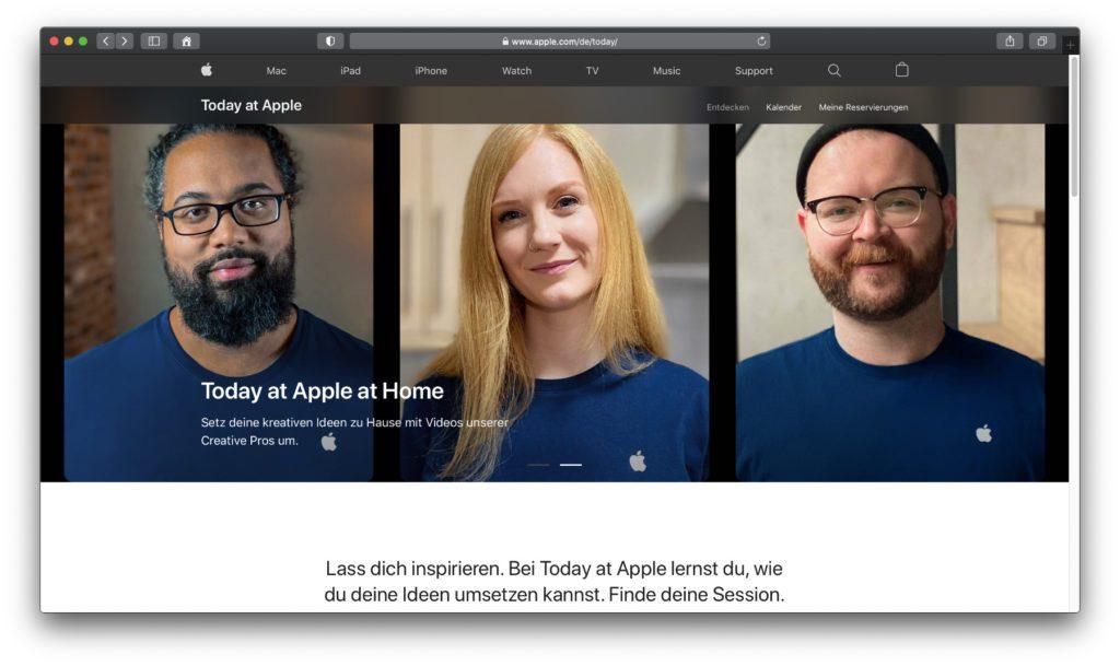 Auf der Today at Apple Webseite, die es auch auf deutsch gibt, findet ihr allgemeine Informationen, Sessions in eurer Region sowie Termine von Online-Kursen.