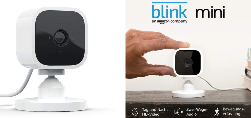 Die Blink Mini ist eine kleine Überwachungskamera mit 1080p Full HD Auflösung. Sie liefert Tag und Nacht HD-Videos auf das Smartphone oder das Echo-Gerät mit Display. Die Kommunikation nachhause ist dank Zwei-Wege-Audio möglich. Ihr könnt euch Benachrichtigungen aufs Smartphone schicken lassen, wenn eine Bewegung festgestellt wird.