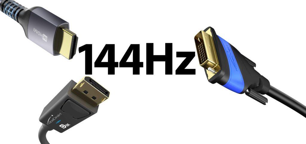 Welches Kabel braucht man für einen 144Hz Monitor? Welches Kabel eignet sich am besten für den Gaming-Monitor – HDMI 2.1 oder DisplayPort 1.4 oder Dual Link DVI-D? Hier bekommt ihr Antworten auf eure Fragen!