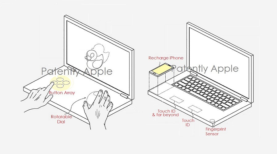 Virtuelle Tastatur, individuelle Steuerelemente, Wisch-Gesten, Ladefläche fürs iPhone, Touch ID und mehr könnten an einem MacBook (Pro) mit zweitem Bildschirm realisiert werden. Bild: Patently Apple