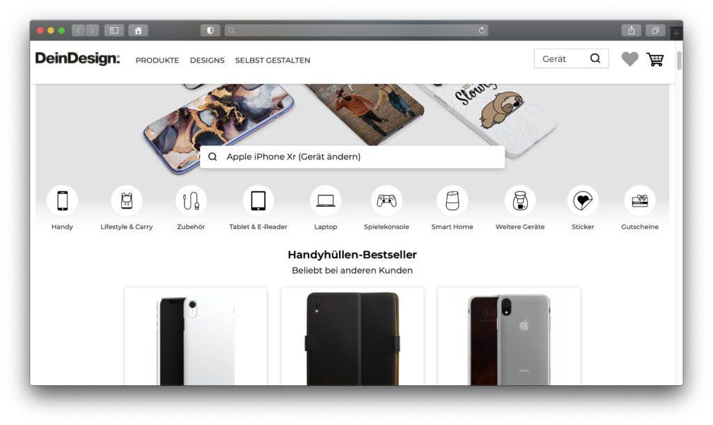Verschiedene Anbieter für Handyhüllen haben auch die Möglichkeit zur individuellen Gestaltung von Hüllen, Cases und Taschen im Sortiment.