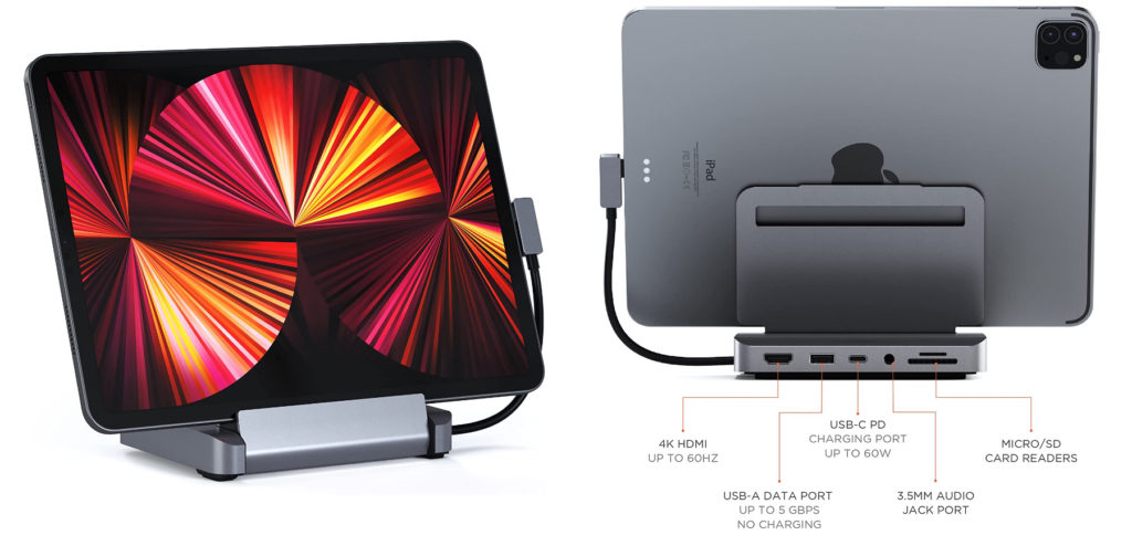 This iPad Pro Dock from Satechi not only offers you 6 connections for various output devices and storage media - you can also use it on the MacBook Pro and MacBook Air in addition to the Apple tablet.