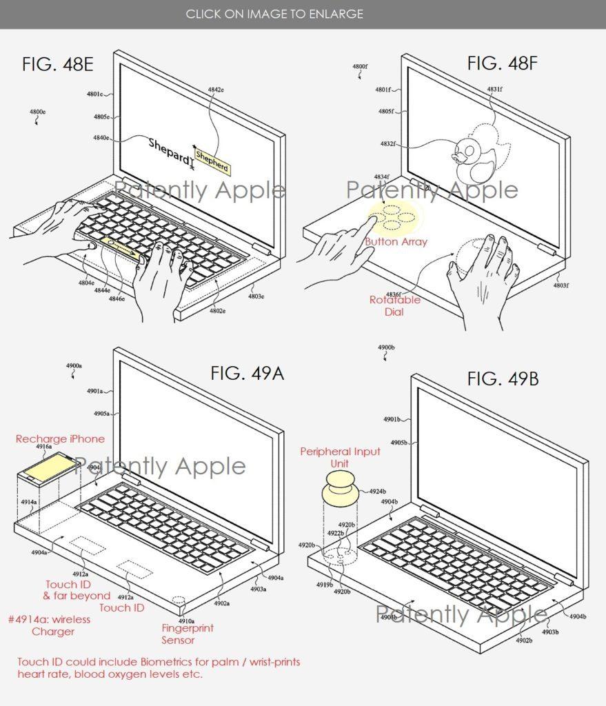 Hier zeigt Patently Apple weitere Einsatzmöglichkeiten. Dies sind aber nur einige der etlichen Grafiken aus dem sehr langen Patent-Papier, das Apple 2018 eingereicht und 2021 gewonnen hat.
