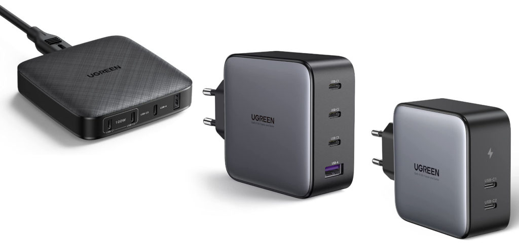 From UGREEN you get these three chargers with USB-C and USB-A including Power Delivery and Quick Charge. The socket power supplies use GaN technology, which makes them comparatively small and light. All models offer a total of 100 watts of power.