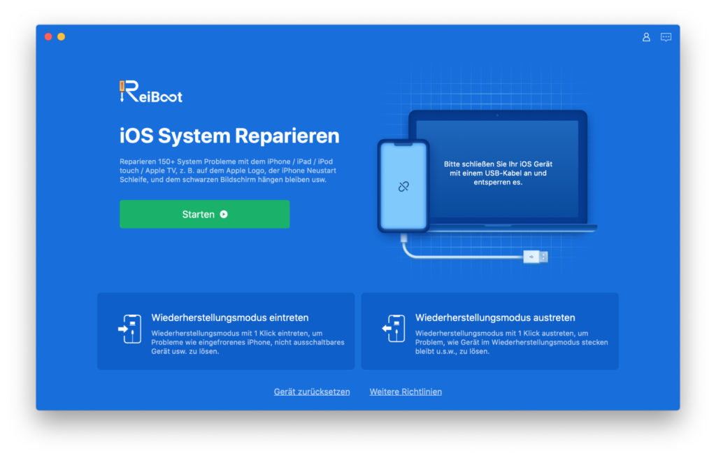 As an app for the Apple Mac, Tenorshare ReiBoot offers various options for solving problems on the connected iPhone, iPad, iPod Touch or Apple TV. Here you can find details about the individual functions.