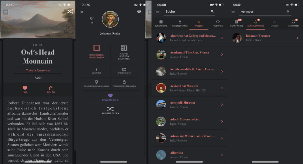 """When you start the DailyArt app, you will be presented with the masterpiece of the day. The menu takes you to the """"Archive, Search & Favorites"""" area. There is also a list of museums here. You can find individual content faster using the search field."""
