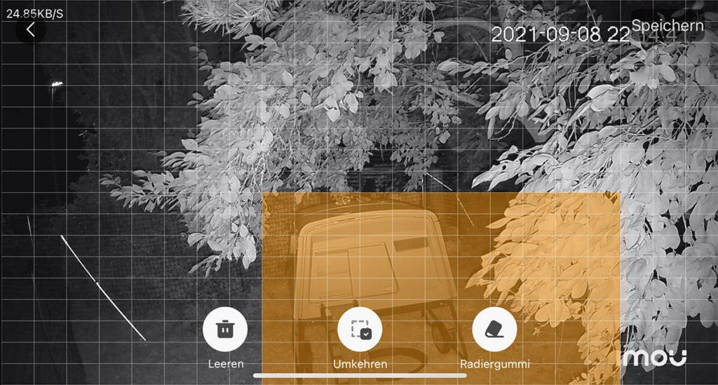 In der Imou Life App lassen sich natürlich auch Alarmzonen festlegen, die die Kamera bei der Bewegungserkennung auswerten soll. Damit lassen sich Fehlalarme durch oft frequentierte Bereiche ausschalten.