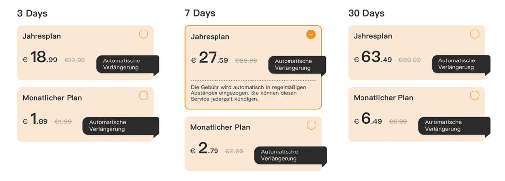 Hier sieht man die Preise für die iMou Cloud in der Übersicht. Sie sind direkt in der App zu finden und dort kann man auch das Abo buchen, wenn man keine SD-Karte nutzen mag.