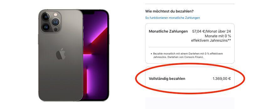 Mein Wunschmodell – das iPhone 13 Pro Max mit 256 GB – schlägt mit sage und schreibe 1369 EUR zu Buche – keine Kleinigkeit, aber für mich ist das iPhone ein ständiger Begleiter, in den ich gerne investiere.