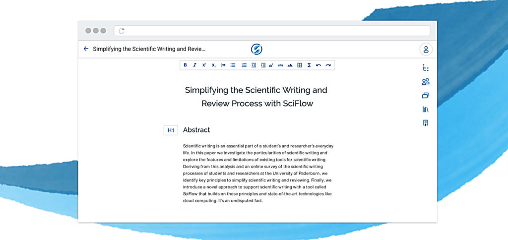 Der SciFlow Texteditor, den ihr direkt über den Webbrowser nutzen könnt, ist darauf ausgelegt, dass man sich auf den Text und dessen Anfertigung konzentrieren kann. Bei der Formatierung wird mit zahlreichen Vorlagen geholfen.
