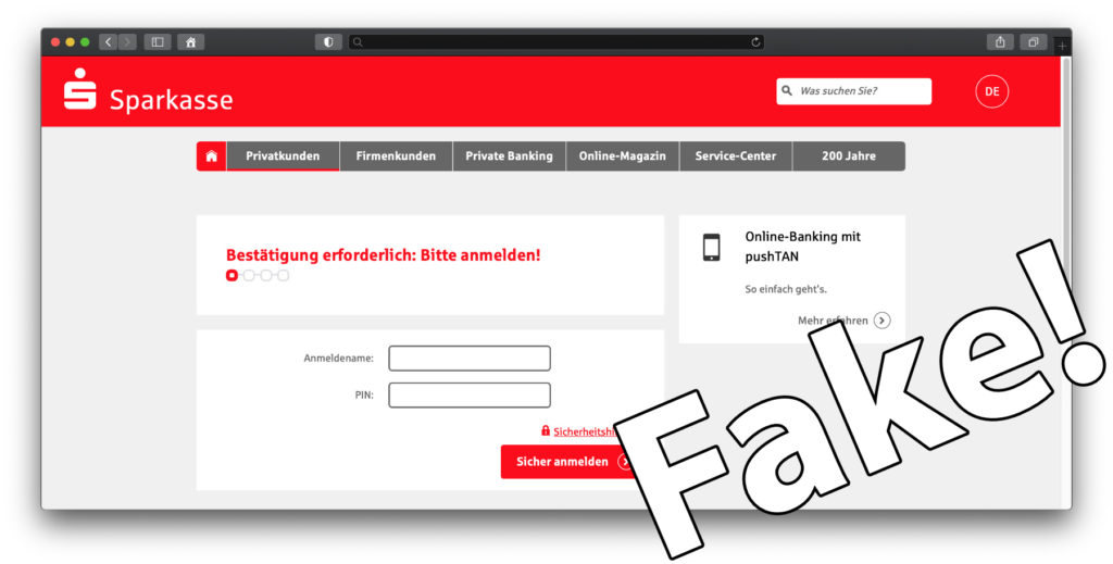So that you don't have to be curious, I called up the sender website out of curiosity. It is a replica of the Sparkasse website or the website for online banking. All links lead to phishing, i.e. an attempt to access login data.