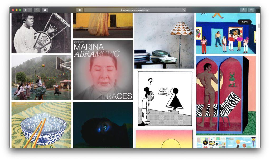 """Das """"WePresent""""-Angebot auf der WeTransfer-Seite zeigt noch viel mehr Kunst, Einblicke und Ratgeber."""