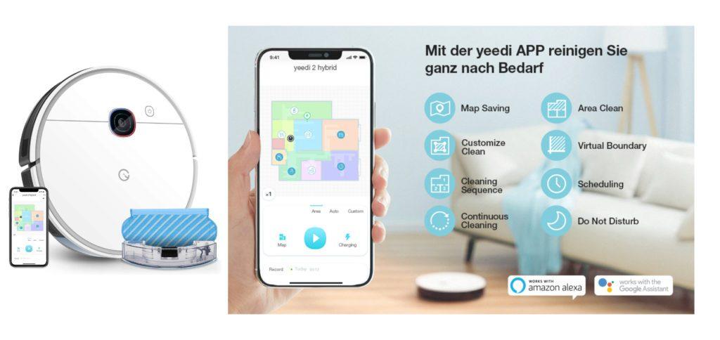Den smarten yeedi 2 Saugroboter mit Wischfunktion bekommt ihr bis zum 14. September 2021 mit 90 Euro Rabatt. Über die App könnt ihr das Programm festlegen, Räume und Areale auswählen sowie weitere Features des Reinigungsroboters nutzen.
