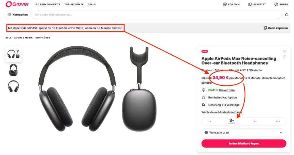 Ich weiß nicht, wie lange das Angebot gilt, aber aktuell bekommt man die AirPods Max für knapp 55 Euro für 3 Monate geliehen – reichlich Zeit, um zu schauen, ob man sich die Dinger vielleicht doch kaufen möchte.