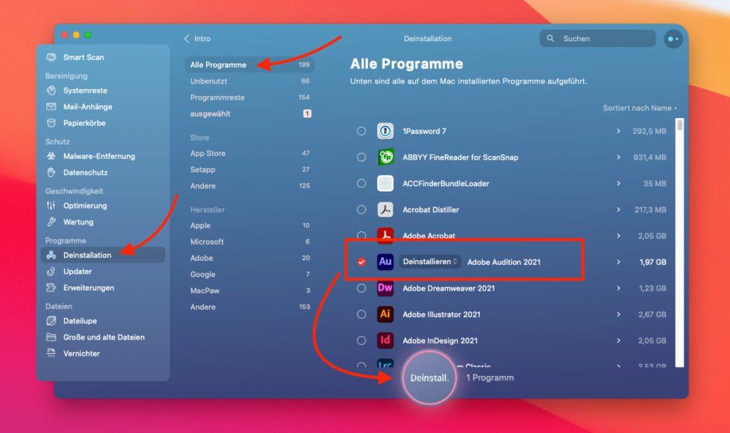 Mac-Programme deinstallieren – inklusive aller Reste im System – funktioniert mit wenigen Klicks, wenn man CleanMyMac X nutzt.