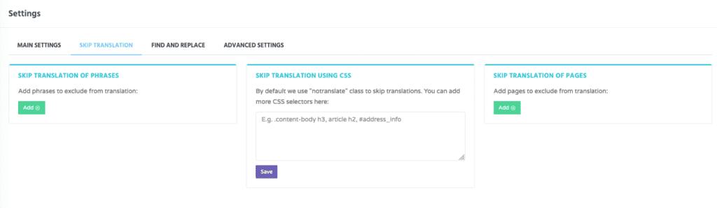 Über CSS-Klassen, URL-Teile und ähnliches lassen sich auch Seiten oder Seitenelemente von der automatischen Übersetzung ausschließen.