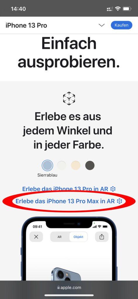 Auf der Apple-Webseite könnt ihr euch Geräte in AR anzeigen lassen. Dazu wird ein 3D-Modell in das Kamera-Bild auf dem Display eures Handys eingebettet. So könnt ihr eigene Größenvergleiche anstellen.